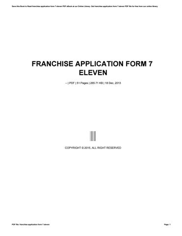 Franchise Application Form 7 Eleven By Ziyap96 Issuu