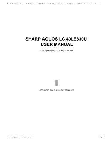 sharp aquos lc 40le830u user manual by ziyap41 issuu rh issuu com sharp lc40le830u manual español KB Sharp 6525P5