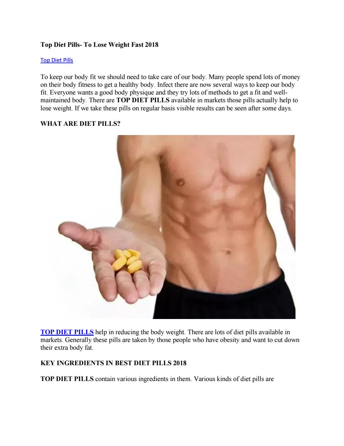 Top Diet Pills To Lose Weight Fast 2018 By Top Diet Pills