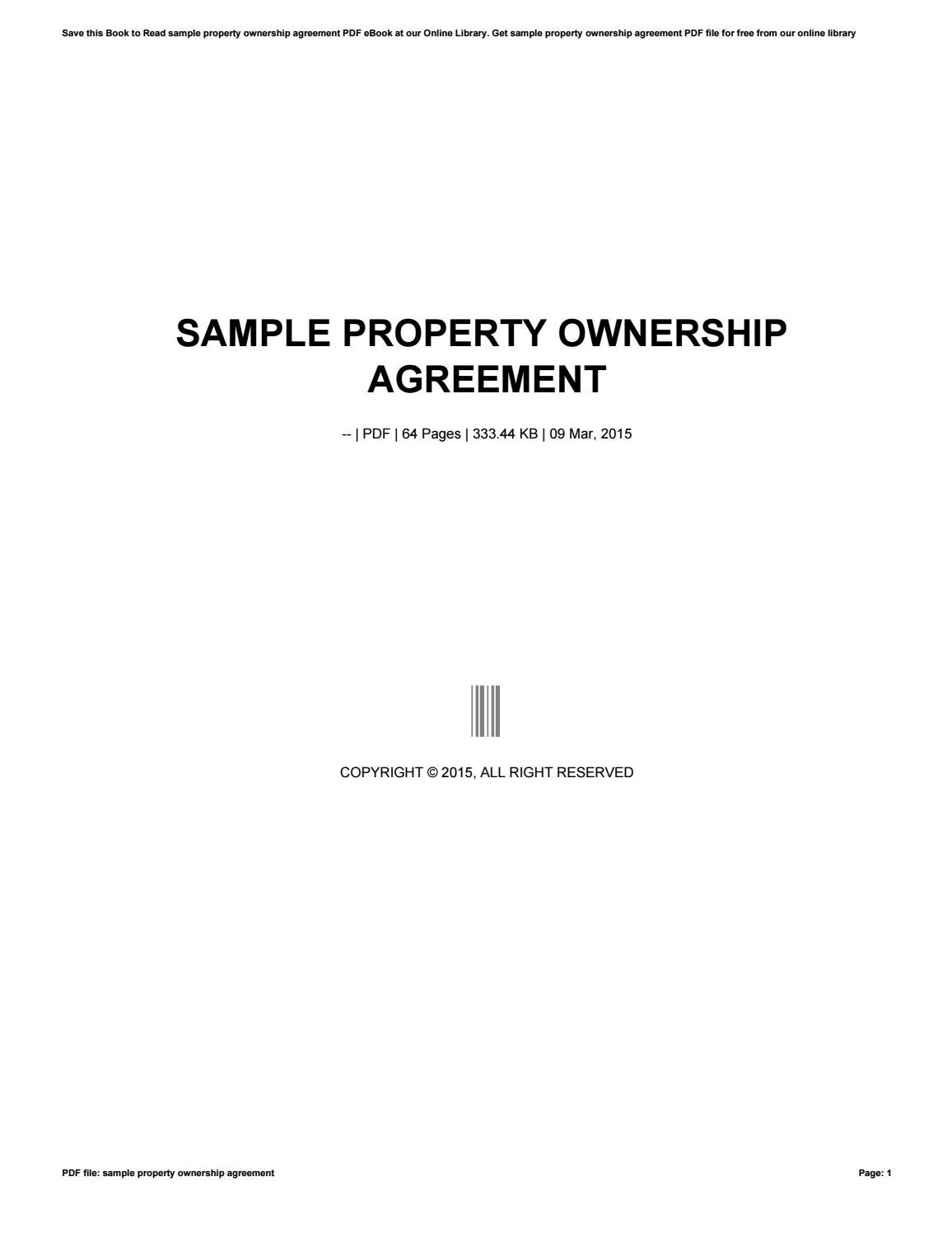 Sample Property Ownership Agreement By Ziyap364 Issuu