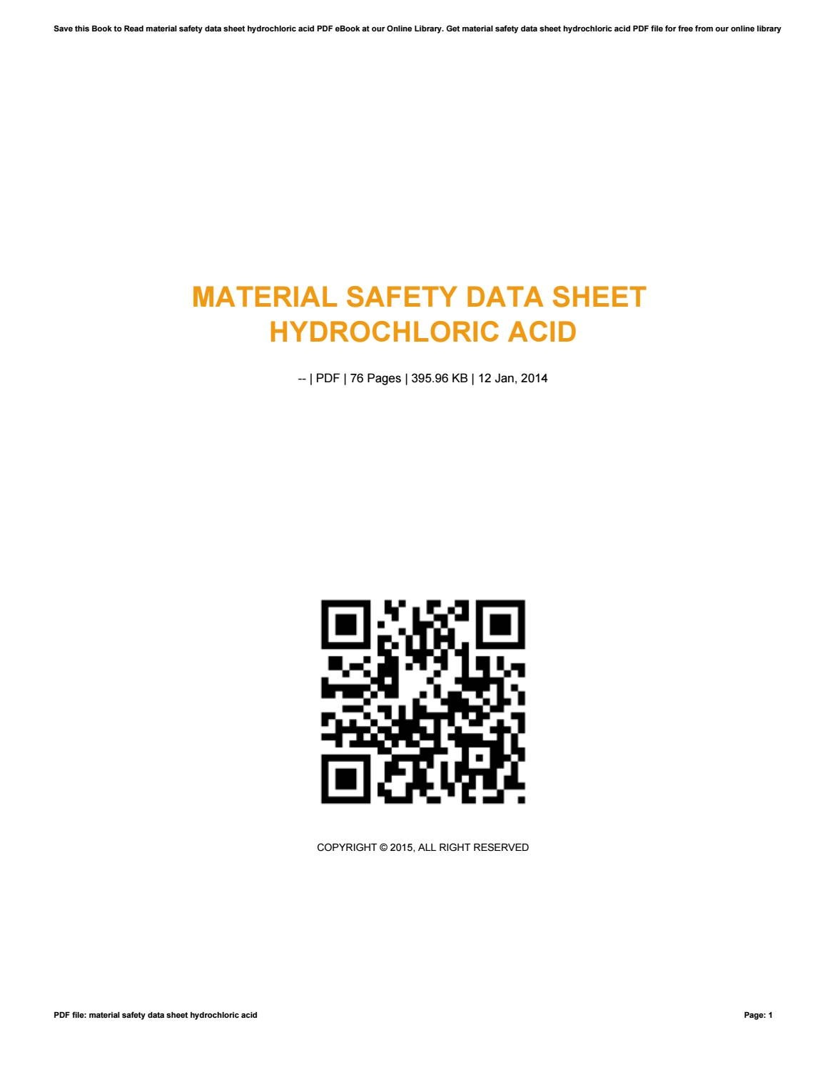 Material safety data sheet hydrochloric acid by ax80mail97 - issuu