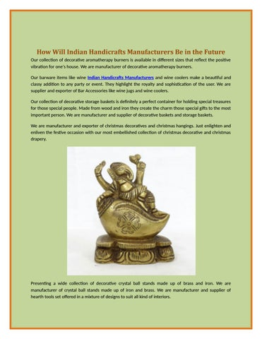 How Will Indian Handicrafts Manufacturers Be In The Future By