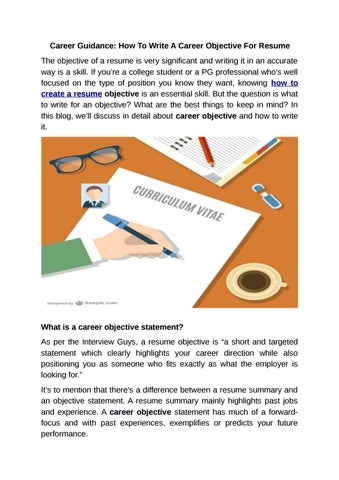 Career Guidance How To Write A Objective For Resume By