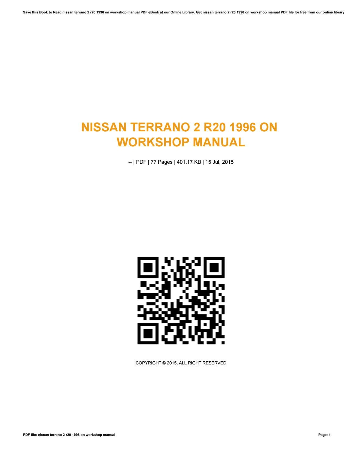 nissan terrano 2 r20 1996 on workshop manual by tm2mail854 issuu rh issuu com terrano wd21 workshop manual nissan terrano workshop manual td27