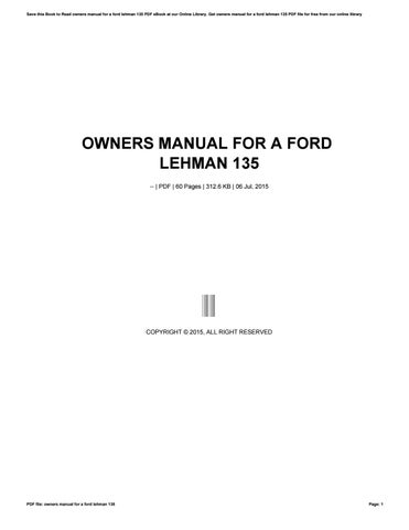 owners manual for a ford lehman 135 by crymail214 issuu rh issuu com ford lehman 2725e service manual ford lehman engine owners manual