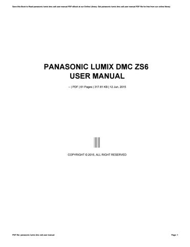 panasonic lumix dmc zs6 user manual by muimail927 issuu rh issuu com Panasonic DMC ZS6 Battery Charger Panasonic DMC ZS6 Manual