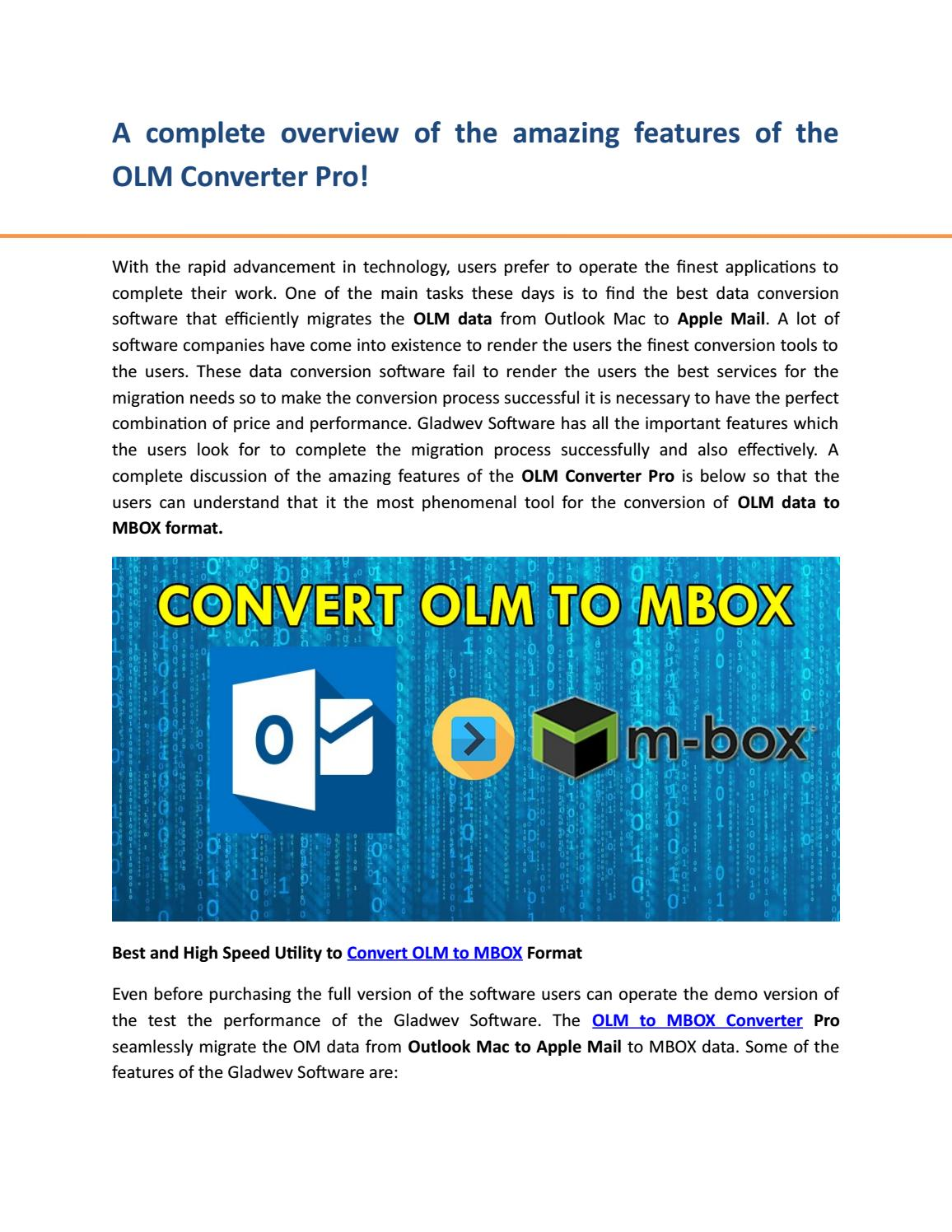 Convert olm to mbox by gladwev - issuu