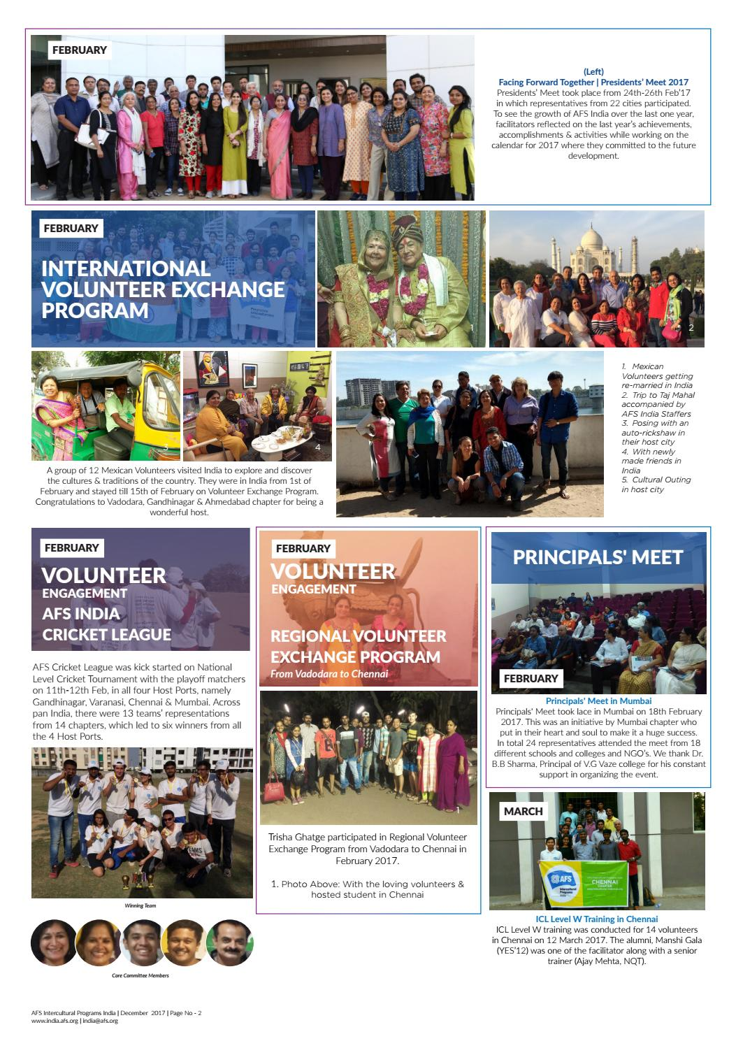 AFS Intercultural Programs India Newsletter   December 2017