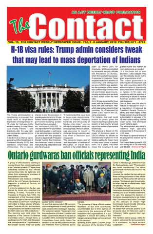 15, THE CONTACT WEEKLY NEWSPAPER ISSUE - 752, 2 - 8 JANUARY, 2018 PH: (905)  671 - 4761
