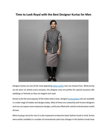1b5d1833c6 Time to look royal with the best designer kurtas for men nihal ...