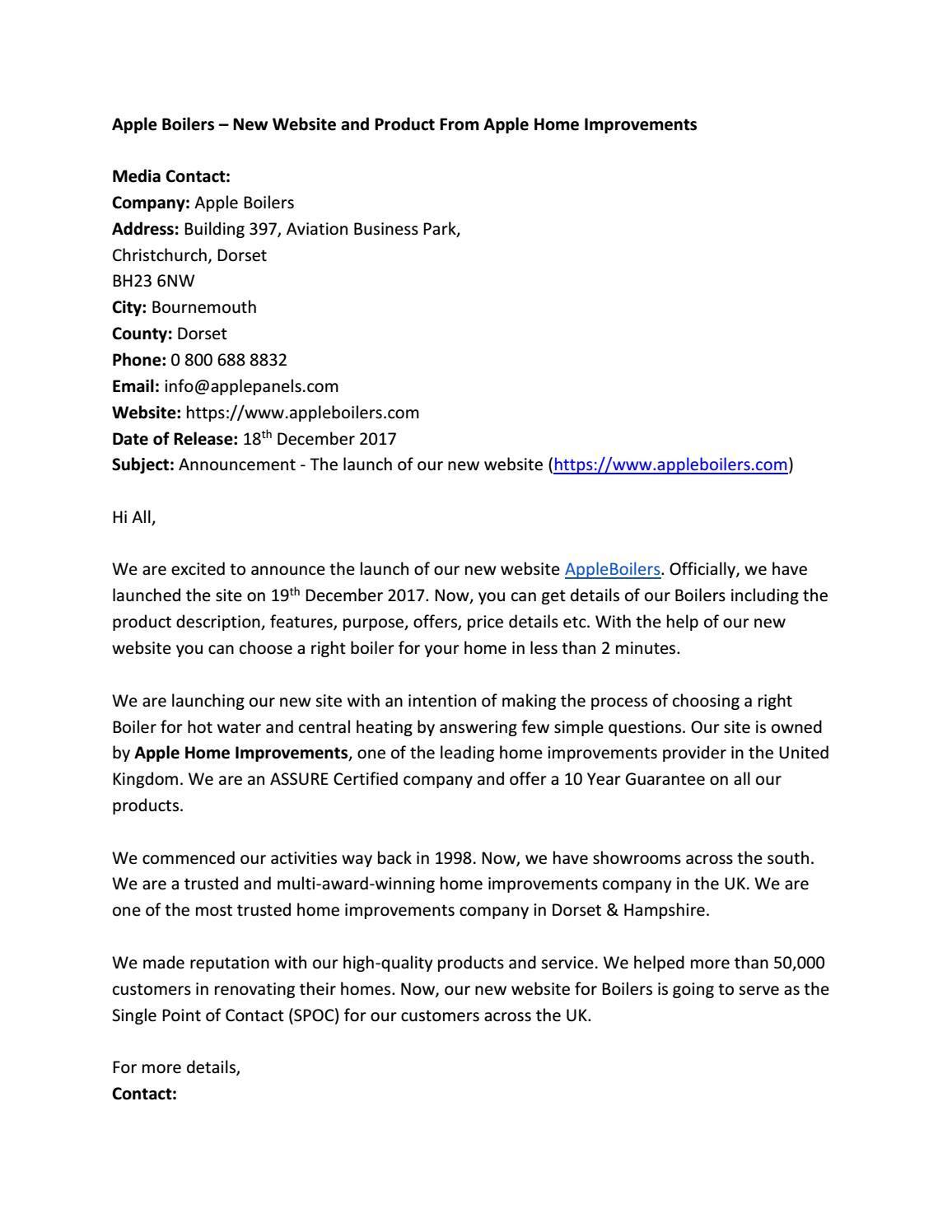 Press Release Of Apple Boilers By Info Appleboilers Issuu