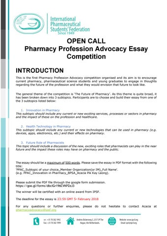 ppa competition open call final by international pharmaceutical  open call pharmacy profession advocacy essay competition introduction this is the first pharmacy profession advocacy competition organised and its aim is to