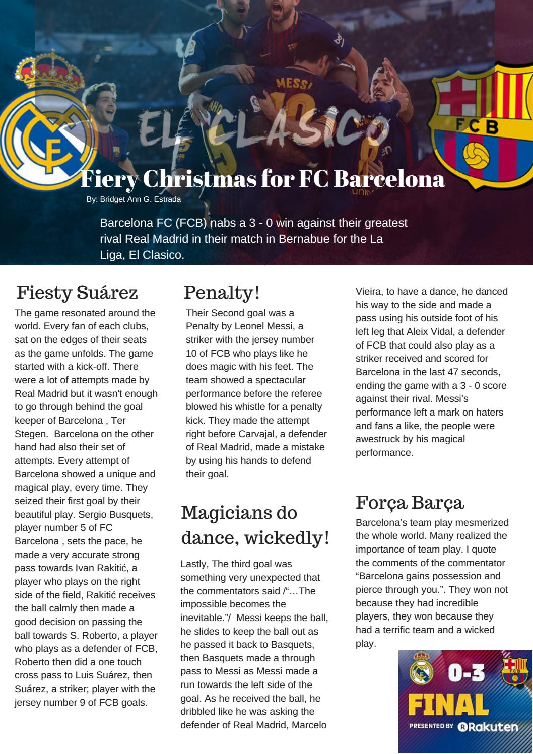 Fiery Christmas for FC Barcelona by 11 ...