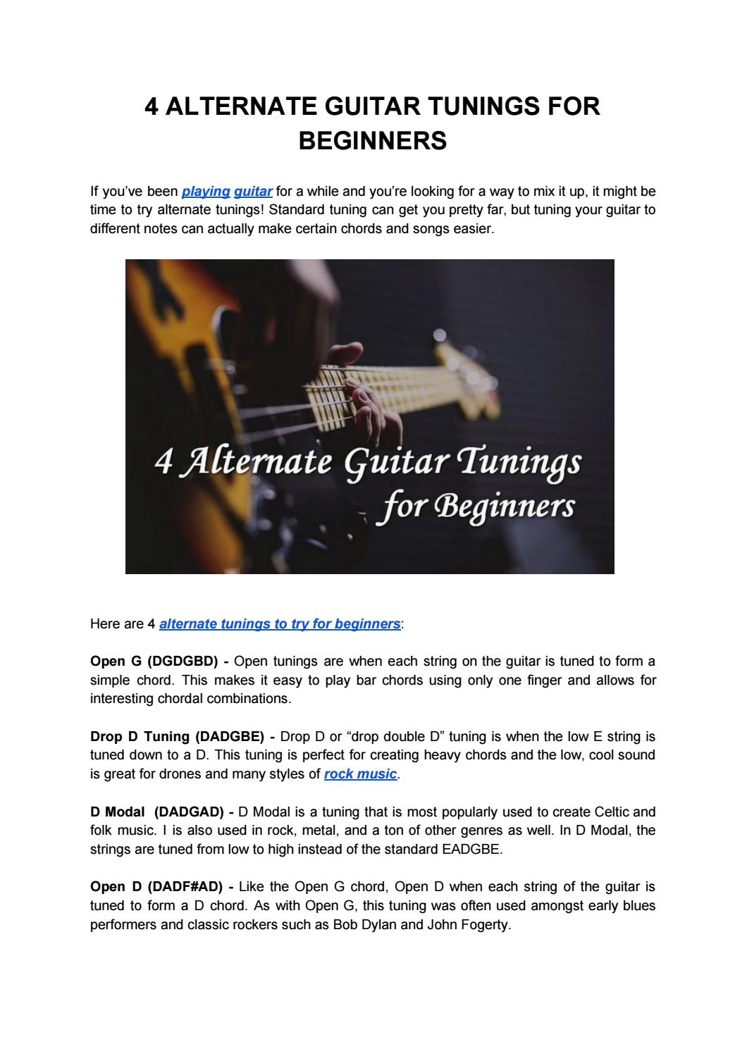 Alternate Guitar Tunings For Beginners By Taylor Robinson Music Issuu