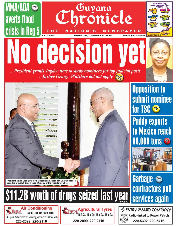 Guyana chronicle e paper 01 04 2018 by Guyana Chronicle E