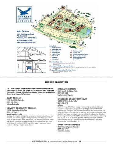 Cedar Valley College Campus Map.2018 Visitors Guide By Waterloo Cedar Falls Courier Issuu