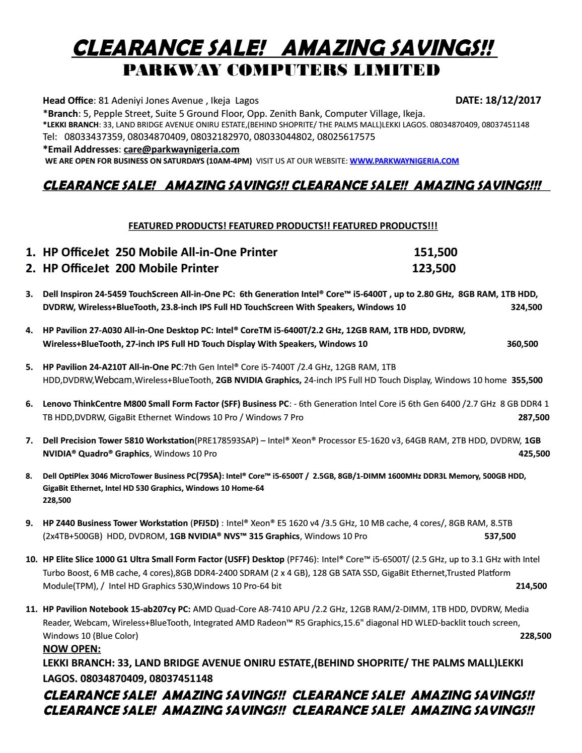Price List by Parkway Webstore - issuu