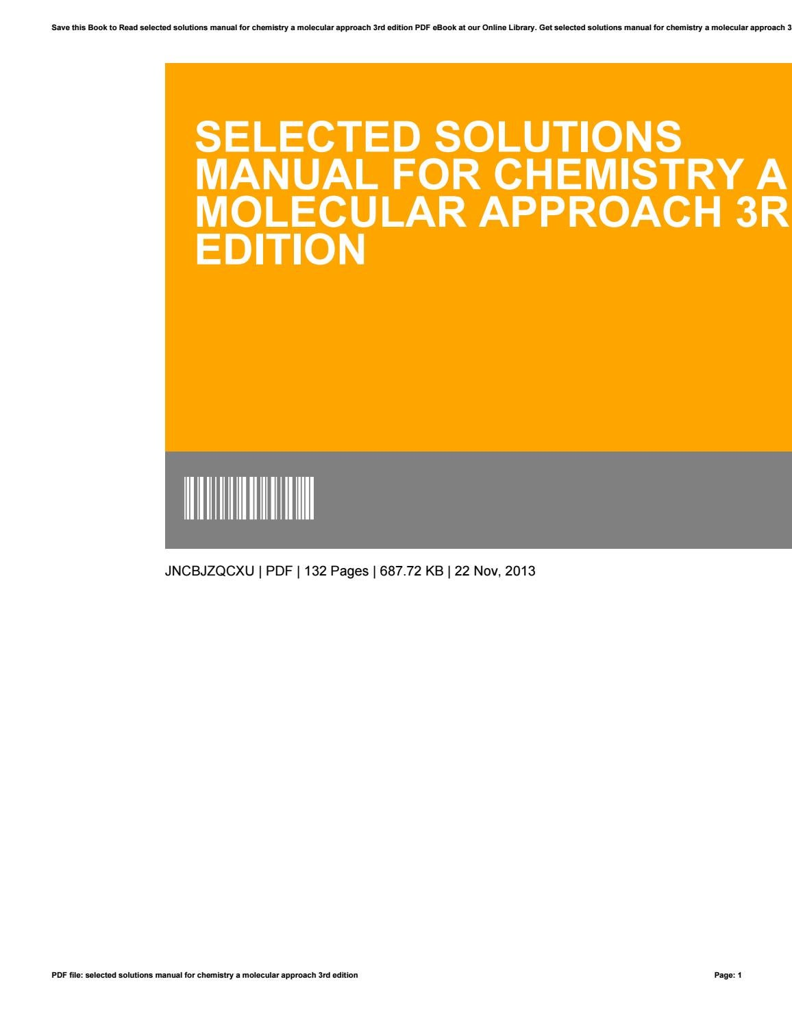 Selected solutions manual for chemistry a molecular approach 3rd edition by  minex-coin66 - issuu