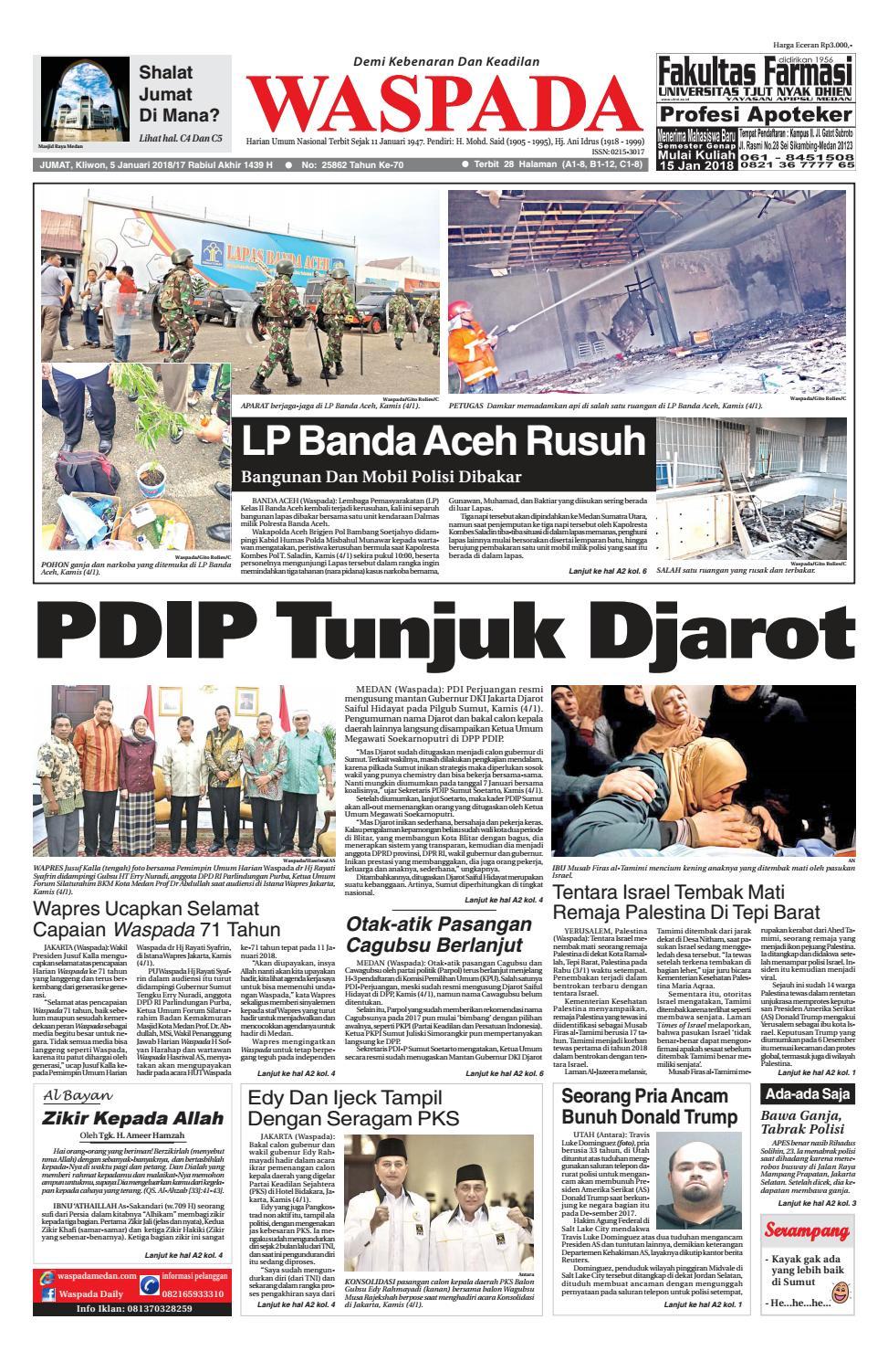 Waspada jumat 05 januari 2018 by Harian Waspada issuu