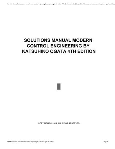 Solutions Manual Modern Control Engineering By Katsuhiko Ogata 4th Edition By Tm2mail75 Issuu