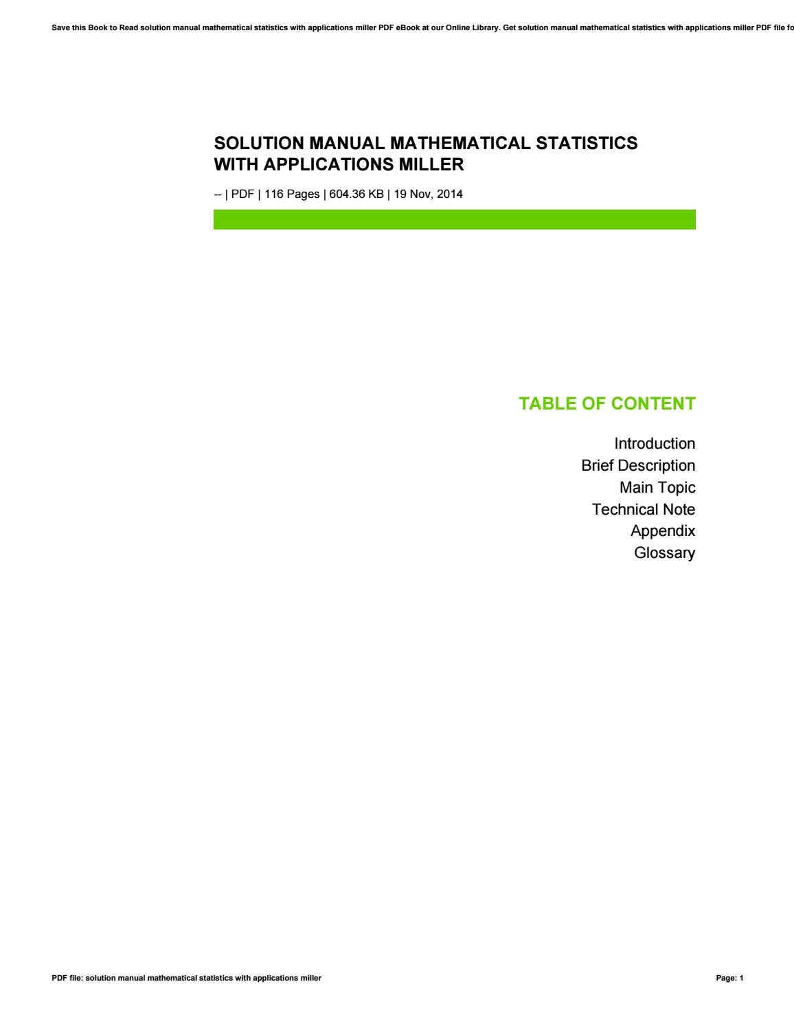 Solution manual mathematical statistics with applications miller by  tm2mail75 - issuu