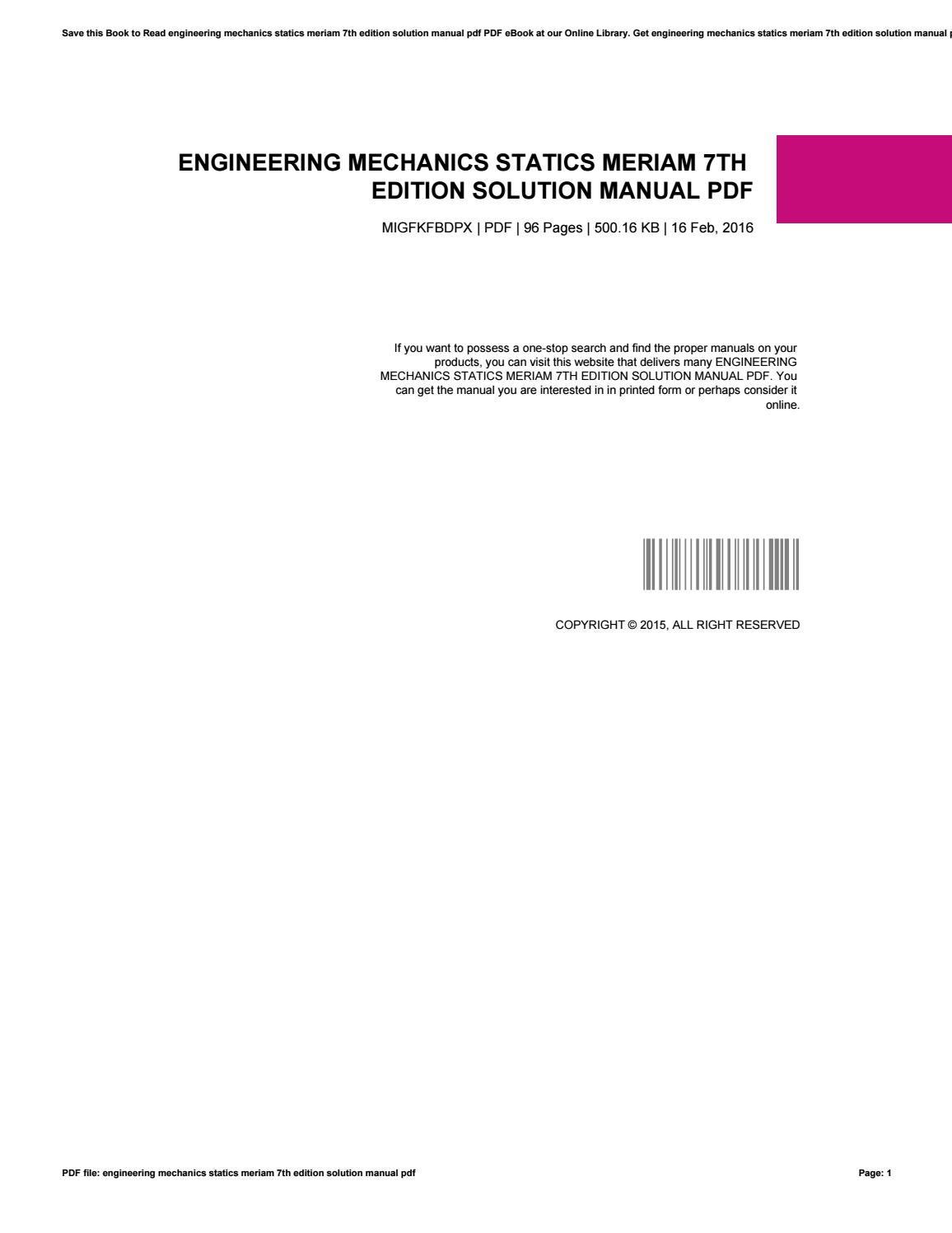Engineering mechanics statics meriam 7th edition solution manual pdf by  minex-coin42 - issuu