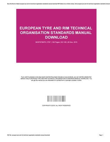 European tyre and rim technical organisation standards manual
