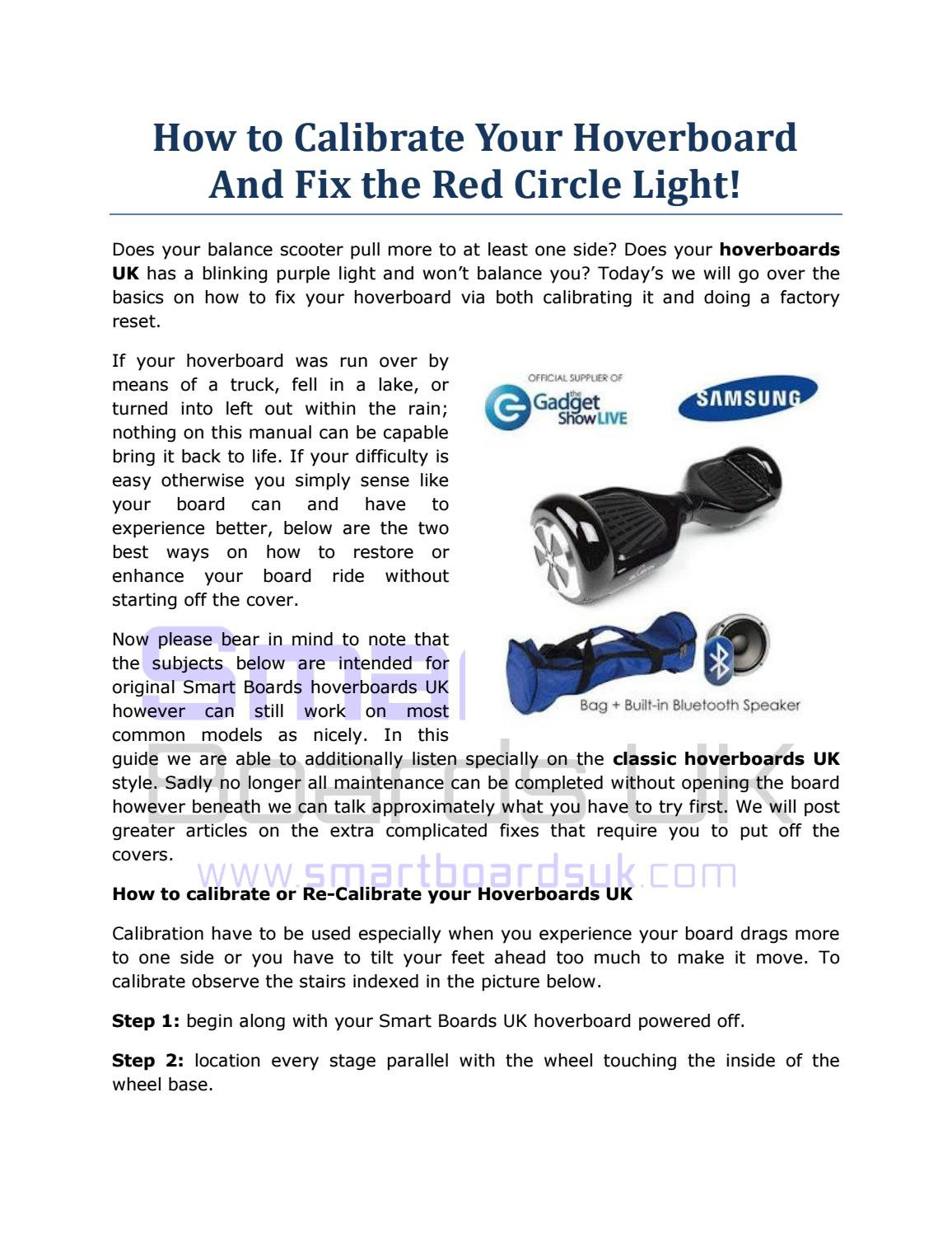 How To Calibrate Your Hoverboard And Fix The Red Circle Light By Go Balance Board Smart Boards Uk Issuu