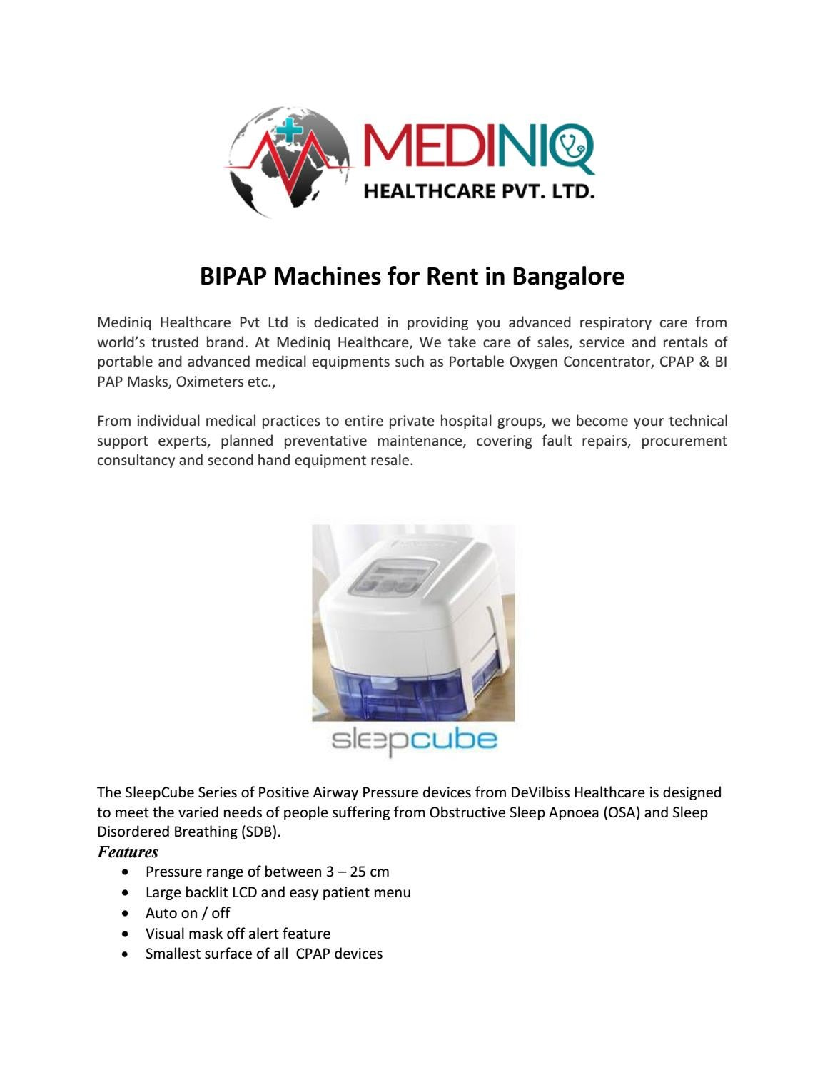 BIPAP Machines for Rent in Bangalore by mediniq - issuu