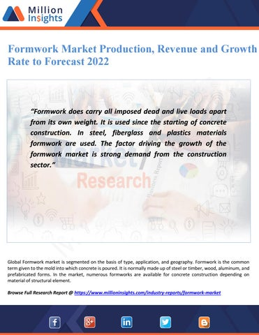 Formwork market production, revenue and growth rate to forecast 2022