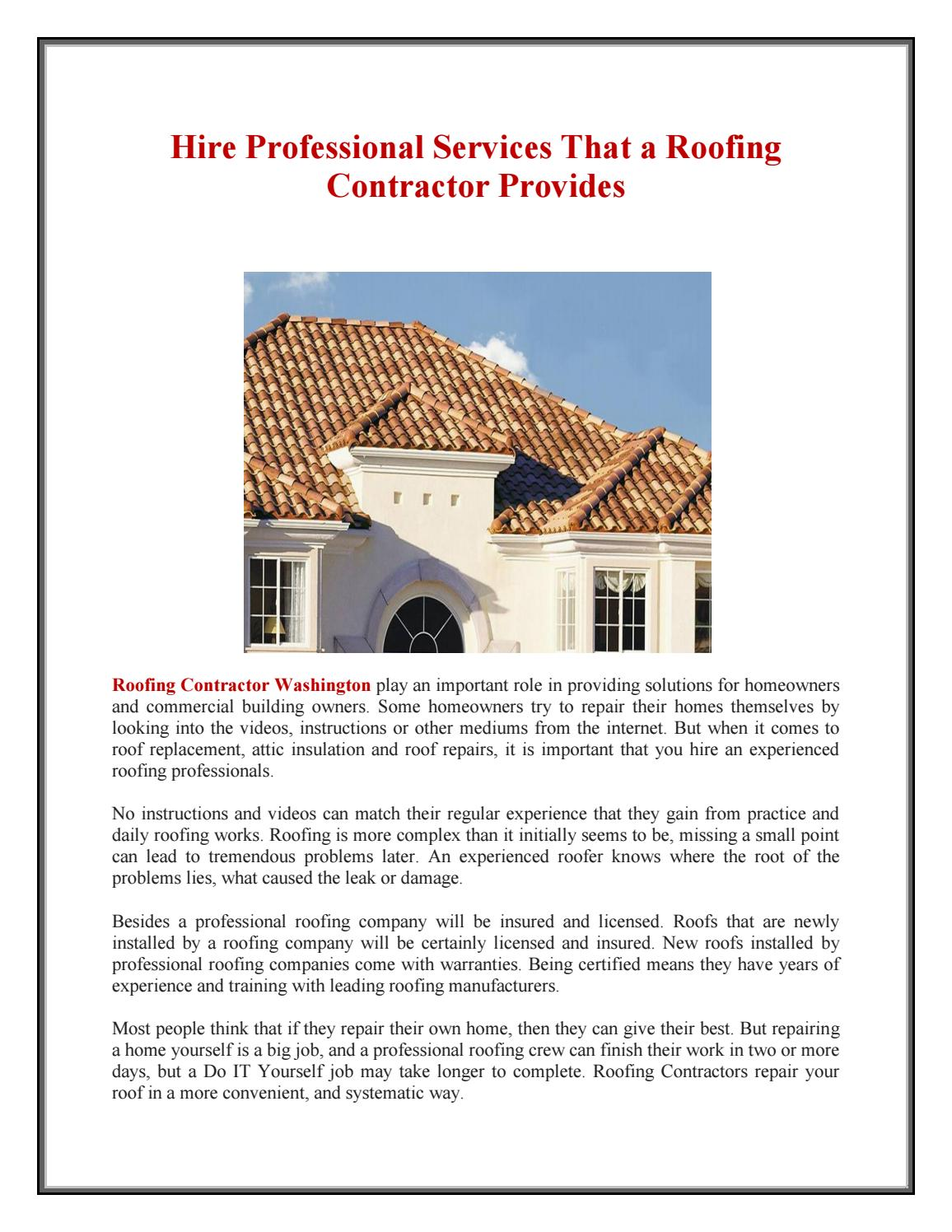 Roofing Contractor Washington Dc By Roofing Contractor Washington Dc Issuu