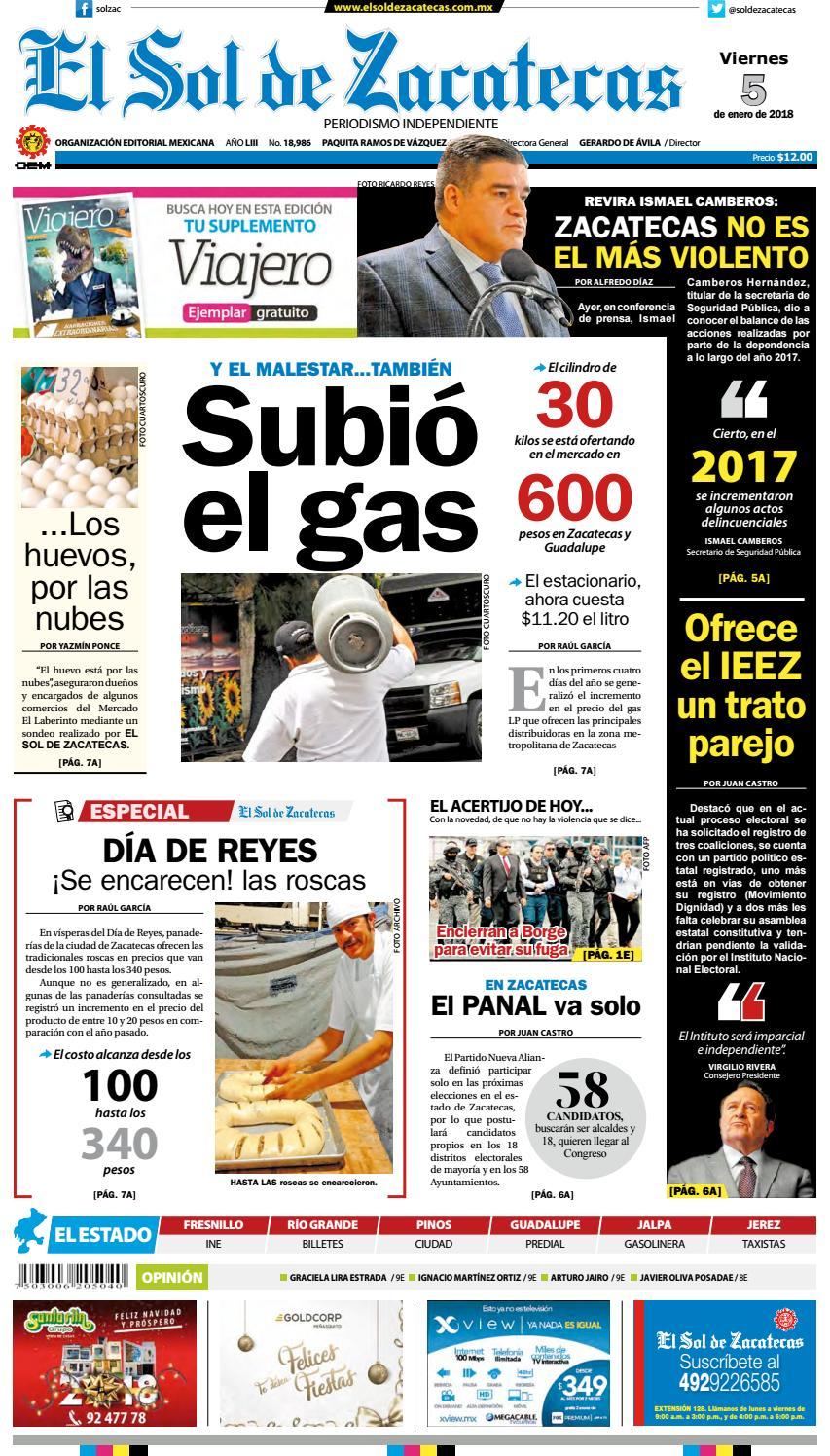 2aec09e99 El Sol de Zacatecas 5 de enero 2018 by El Sol de Zacatecas - issuu