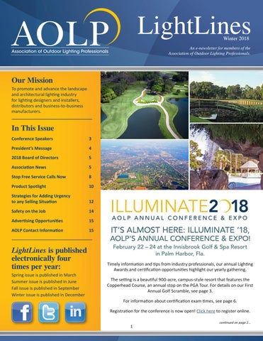 Aolp lightlines 20172018 winter issue by association of outdoor page 1 lightlines winter 2018 an e newsletter for members of the association of outdoor lighting professionals mozeypictures Image collections