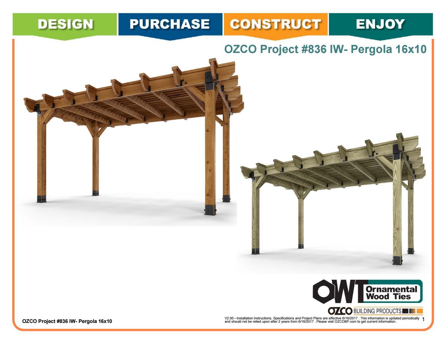 OZCO Project #836 - 16x10 Pergola (Ironwood) by OZCO