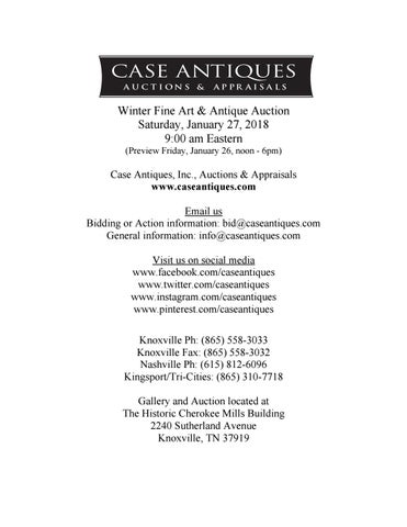 January 27 2018 Auction Catalog By Case Antiques Inc Auctions