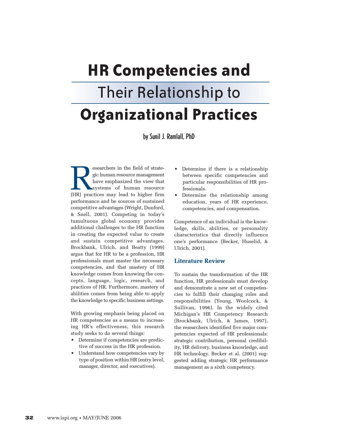 Hr competencies and the relationship to performance