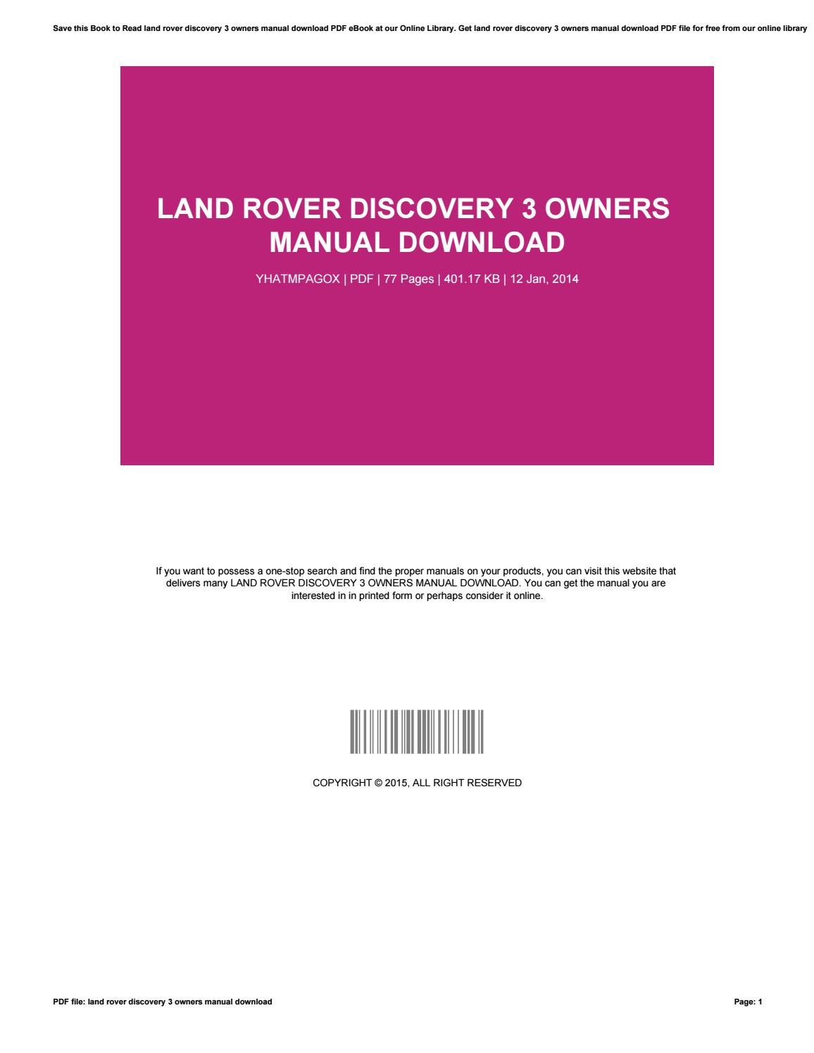 Land rover discovery 3 owners manual download by successlocation94 - issuu