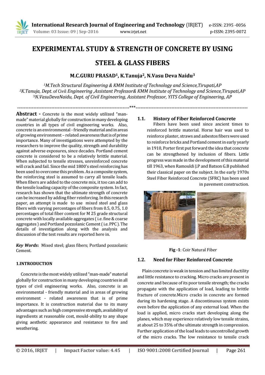 Experimental Study & Strength of Concrete by Using Steel