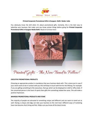 Printed Corporate Promotional Gifts in Gurgaon- Delhi- Noida