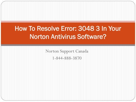 Norton error 3048
