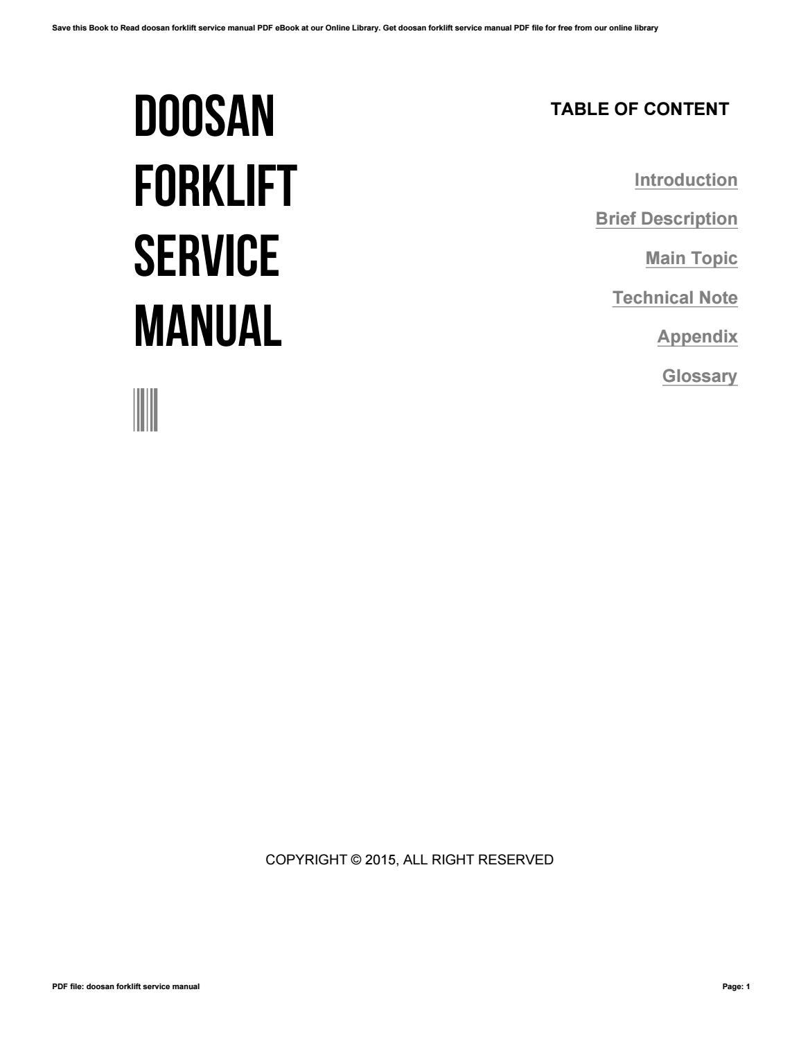 Doosan Forklift Service Manual By Cobin2hood02 Issuu Komatsu Fg25 Wiring Diagram