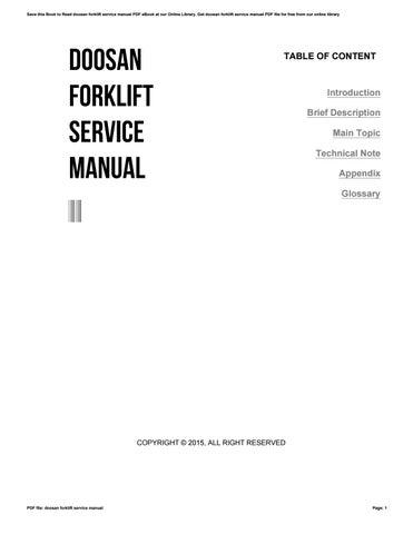 Doosan Forklift Service Manual By Cobin2hood02 Issuu