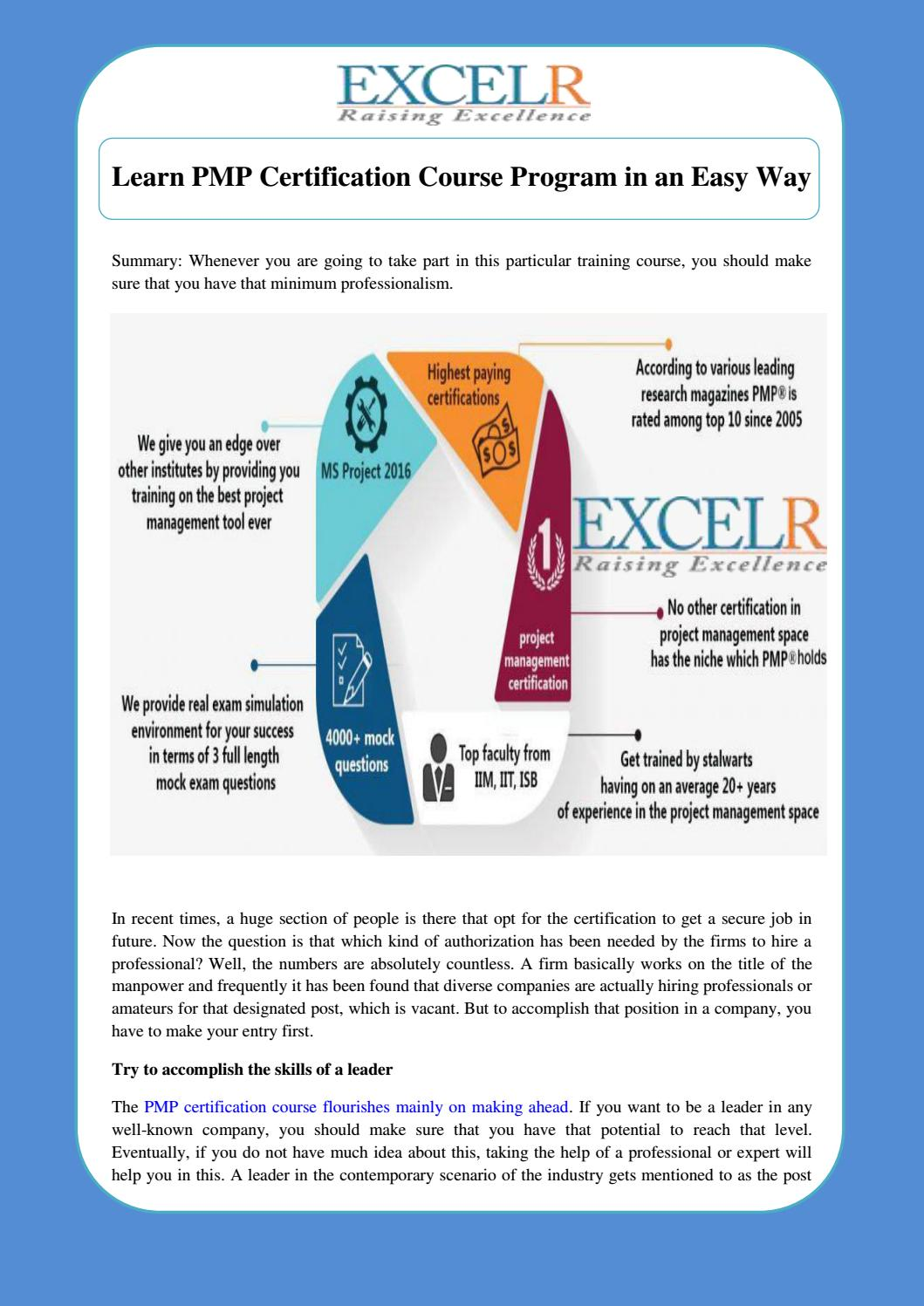Learn Pmp Certification Course Program In An Easy Way By Excelr Issuu