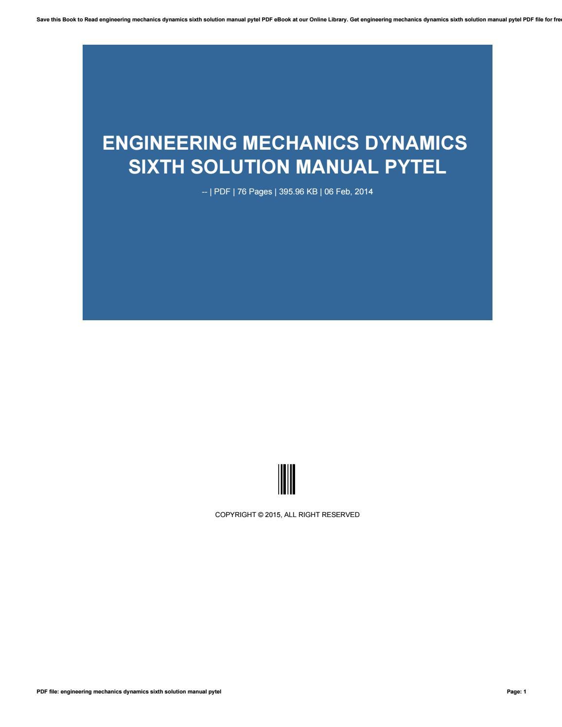 Engineering mechanics dynamics sixth solution manual pytel by minex-coin814  - issuu