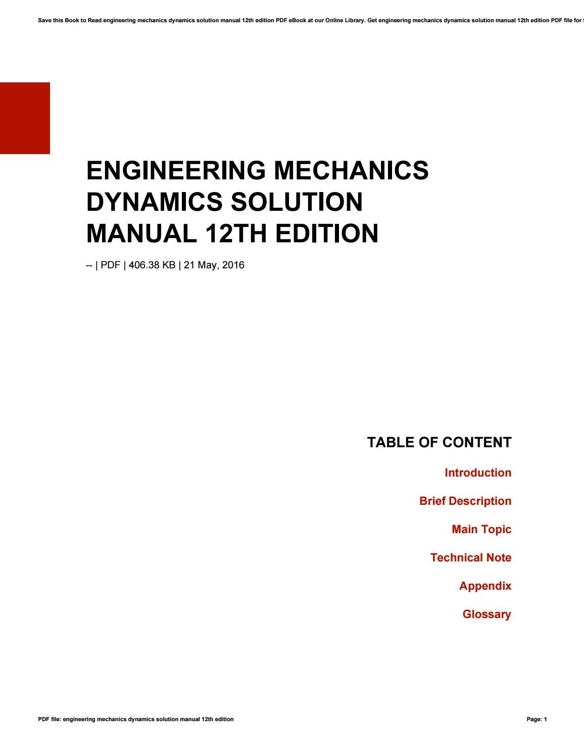 Engineering mechanics dynamics solution manual 12th edition by  minex-coin814 - issuu