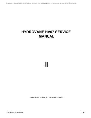 hydrovane service manual pdf
