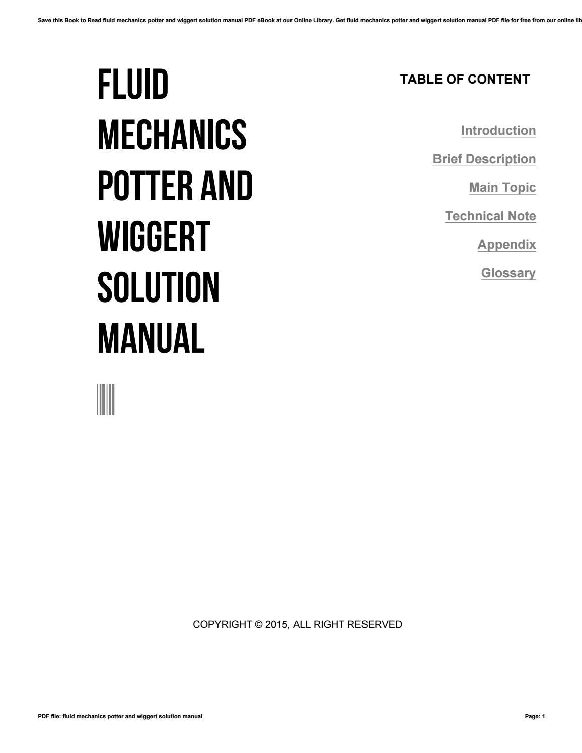 Mnl 1757 Mechanics Of Fluids Potter Solutions Manual 2019 Ebook