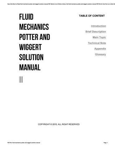 mechanics of fluids potter solution manual