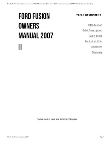 ford fusion owners manual 2007 by ax80mail316 issuu rh issuu com 2007 ford fusion sel v6 owners manual 2007 ford fusion se v6 owners manual
