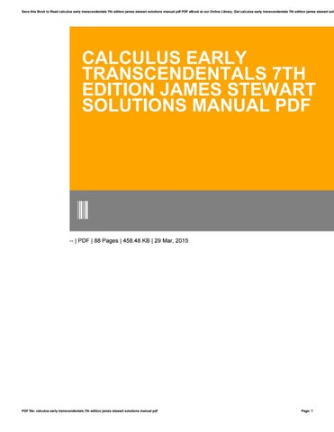 Calculus early transcendentals 7th edition james stewart solutions save this book to read calculus early transcendentals 7th edition james stewart solutions manual pdf pdf ebook at our online library fandeluxe Gallery